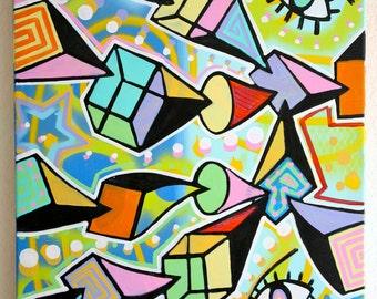 ORIGINAL surrealism cubism abstract street art urban spray paint pop painting