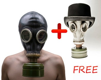 Halloween Black Gas mask  ... Soviet army gas mask ... Steampunk ... goth... Russian ... punk ... cyber ... Get white gas mask GP 5 for FREE