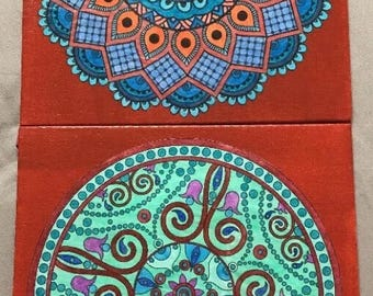 Set 2 Rust Red Canvas Board Blue Green Mandala Collage Wall Art Pictures