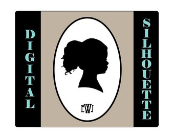 Custom Silhouette Portrait- High Resolution Digital File - Perfect for Baby shower - Mothers Day - Great last minute gift
