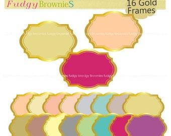 ON SALE Gold frames clip artcolor background frame frame A 162
