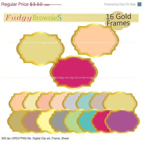 ON SALE Gold Border Frames Clipart Color Background Frame A 160 Outline Bracket Wedding Invitation Invites Printable