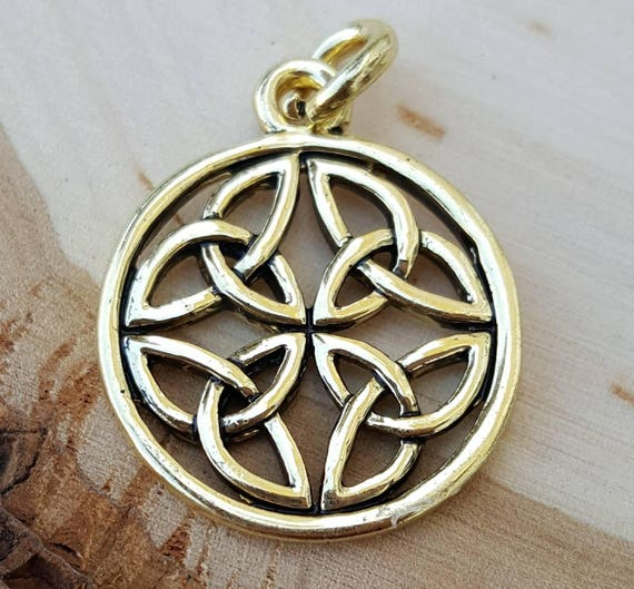 14k gold plated celtic symbol infinity love knot charm pendant 14k gold plated celtic symbol infinity love knot charm pendant charm bracelet celtic jewelry round pendants gold charms mothers day gift from aloadofball Image collections