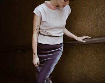 Love Me or Leave Me Pencil skirt in Amethyst Silk Velvet