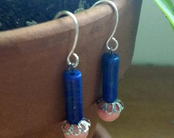 Lapis Lazuli & Rose Quartz Dangle Earrings