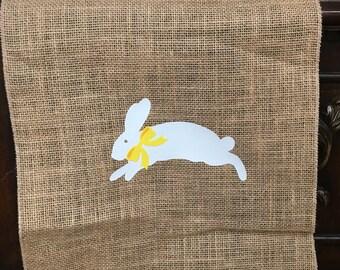 Easter Bunny  Burlap Table runner rustic decor