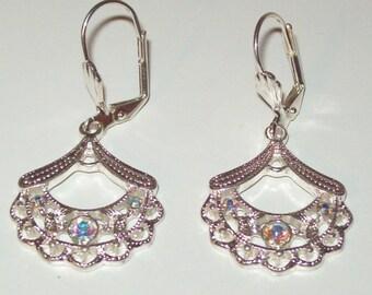 Sparkly Earrings, Fan Earrings, Dangle Earrings, Dressy, Wedding
