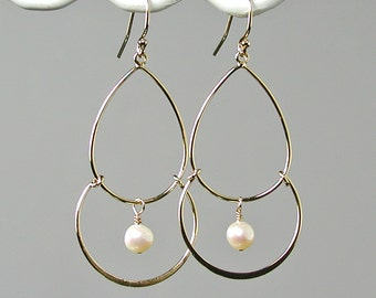 Gold and Pearls Chandelier Earrings