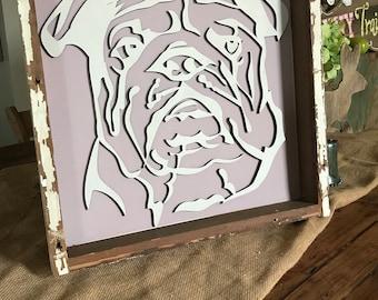 The Lulu.  Laser wood cutout of an English Bulldog