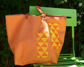 "Tote bag ""Sausalito"" in orange canvas"