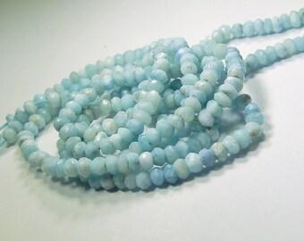 African Opal Gemstone.  Faceted Blue Rondelle  4mm  Semi Precious Gemstone.  Your Choice (o6opl)