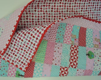 Teddy Bear Picnic Jelly Roll Baby Quilt Pattern Tutorial, pdf, Super Simple with Photos