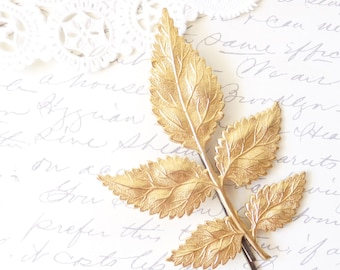 Golden Leaf Branch Hair Pin - Large Leaf Branch Bobby Pin - Woodland Hair Pin - Bridal Hair Pin - Wedding Hair Accessory