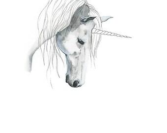 Watercolour Unicorn Print, Mythical Animals, Watercolour Painting, Art Decor, Wall Art, Unicorn, Giclee Print