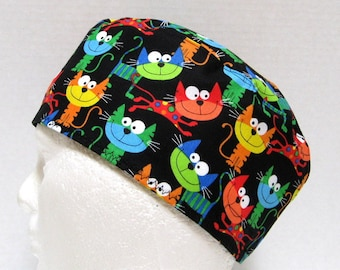 Veterinarian Scrub Cap, Mens Scrub Hat or Surgical Cap Smiling Kitty Cats