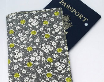 Passport case / passport holder / passport cover : Lime flowers on black and white - Doodle by Henry Glass