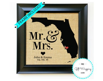 FRAME INCLUDED Wedding Gifts Engagement Gift for Couple Anniversary Gifts for Couples Burlap Mr and Mrs Custom State Print Unique Gift Ideas