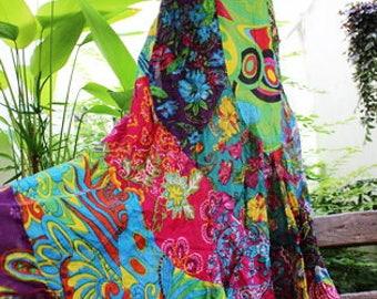 Soft Cotton Patchwork Skirt - OM1708-10