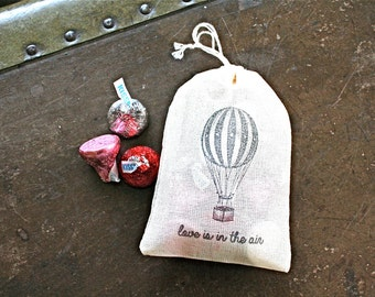 Wedding favor bags, set of 50, drawstring cloth favor bags, Hot air balloon, love is in the air, bridal shower, party favor, cotton gift bag