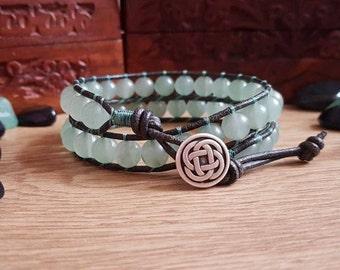Mens Aventurine Bracelet - Mens Green Aventurine Wrap Bracelet - Mens Boho Bracelet - Gemstone Crystal Healing Jewellery - Leather Bracelet