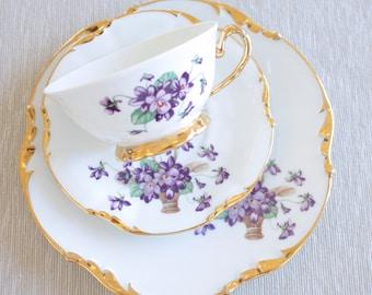 Limoges Teacup & Cake Plate Trio