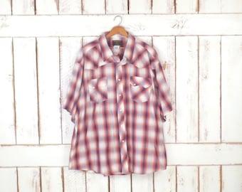 Vintage Wrangler checkered plaid western button down rancher shirt/Rustler short sleeve plaid oxford/3xl