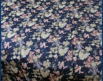 Vintage Chintz Floral Drape Pair Cobalt Blue