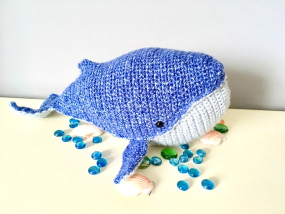 Crochet blue whale amigurumi whale doll kids gift ideas  baby shower gifts kids room decor home decor soft toy sea animal unique natural toy