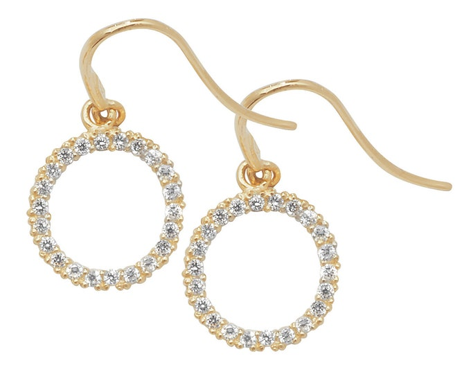 9ct Gold Cz 8mm Circle of Life Fish Hook Drop Earrings-Yellow Gold-White Gold