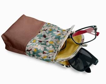 Glasses Case Double Pockets, Sunglasses / Reading Case, Brown Double Pockets Glasses Case,  Silver Frame