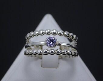 Sterling Silver Lavender CZ Ring Set