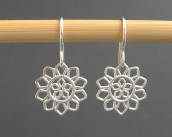 small sterling silver flower earrings filigree dangle petals floral botanical nature drop leverback lever back hook simple jewelry. 1/2""