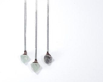 Raw fluorite necklace | Rough fluorite jewelry | Fluorite crystal pendant | Flourite octahedron jewelry | Purple fluorite | Green Fluorite