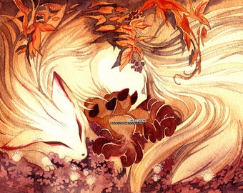 Ninetailed / Ninetails Fox Mom with Kitsune with Kits Art Nouveau 18x24 Watercolor Poster