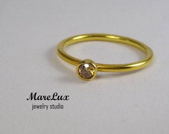 Classic 3 mm Cognac Diamond Gold Ring, Cognac Cubic Zirconia Stackable Ring, CZ 24 K Gold Filled Thin Cognac Diamond Engagement Ring