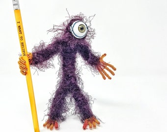 Wine Cyclops - Bendable Copper Wire Creature - fun, unique, fully poseable! Hand-made out of recycled & repurposed materials.