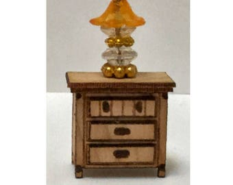 Quarter Inch Scale Country Style Night Stand Dollhouse Furniture Laser Cut Kit.