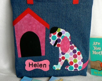 Kids Tote Bag|Dog Tote Bag|Gift For Niece|Personalized Tote Bag|Gift For Nephew|Gift For Bookworm|Preschool Tote Bag|Gift for Grandchild