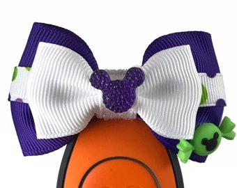 """Candy Mickey (3 color options) Magic Band  Bow or Apple Watch Bow, 2"""" Mini Hair Bow, Planner Bow - Halloween Collection"""