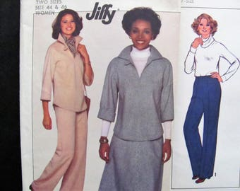 SALE, 44-46 bust 2 Patterns, Simplicity 8180 & Simplicity 8964, Vintage 1970s / Multi-size Pants or Shorts, Tunic Top, Skirt / Large