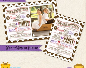 Brother and Sister Joint Birthday Party Invitations • Invites • Purple Red & Brown Chevron • Shared Birthday • Brother Sister Invite 01N