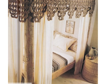 Jute Bed Canopy Crochet Pattern Vintage 70s PDF Instant Download SKU 15-12