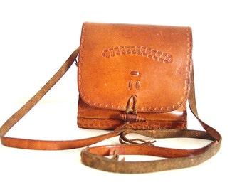 70's Boho Leather. Girl's Shoulder Bag.Lovely Leather Bags.Old skin.