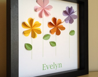 Colorful Flowers Personalized Paper Art- Paper Flowers, Nursery Art, Nursery Decor, Little girl room, made to order, PERSONALIZED