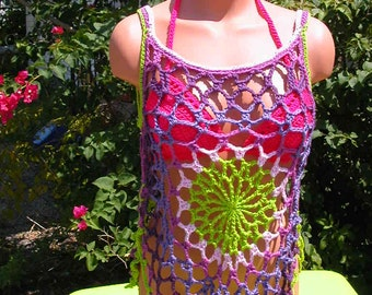 Crochet Lime, Pink, Purple Mandala Top, Beach Cover, Tank Top, medium