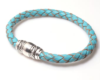 Turquoise Leather Bracelet / Light Blue Braided Leather Bangle with Magnetic Clasp / Skye