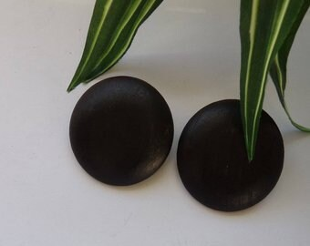 Round Wood Stud Earrings | Wooden Post Earrings | Natural Stained Wood Studs | Wood Button Earrings