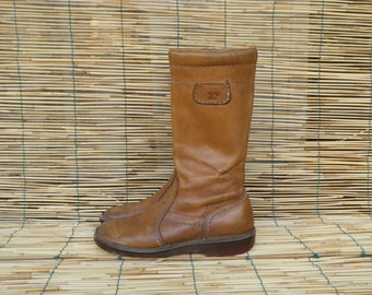 Vintage Lady's Natural Leather Zip Up Boots Size EUR 37/ US Woman 6 1/2