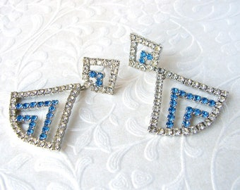 Royal Blue Rhinestone Dangle Earrings 1970s - 1980s Vintage Triangle Drop Posts Wedding Bridal Pageant Ballroom Prom Accessories Pierced