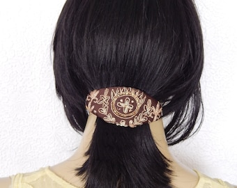 Brown embroidered sequinned beaded hair barrette, great for thick hair, unique style for the bohemian fashionista